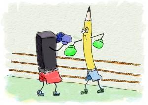 pencil vs. charcoal cartoon | helloartsy.com