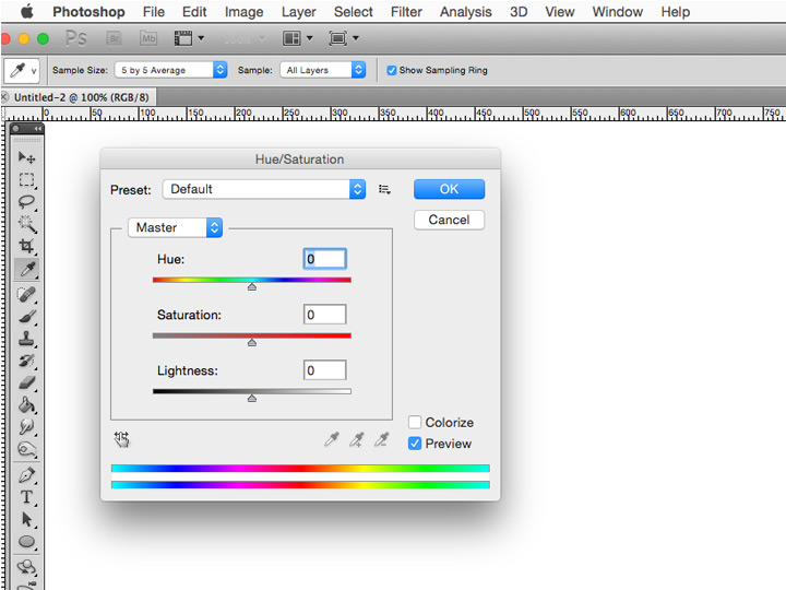PhotoShop > Image > Adjustment > Hue/Saturation -screenshot