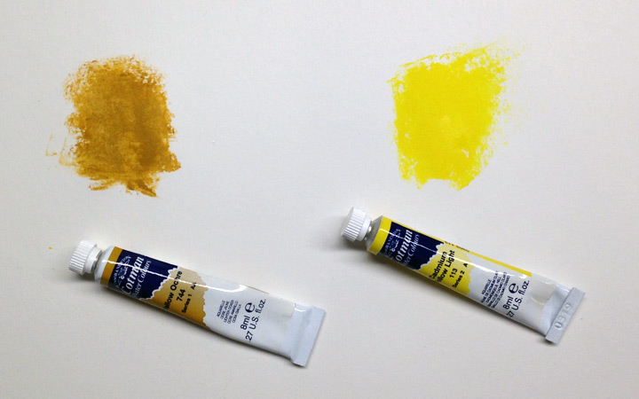 saturation: yellow ochre vs. cadmium yellow