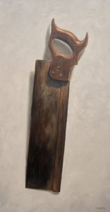 miter saw oil painting