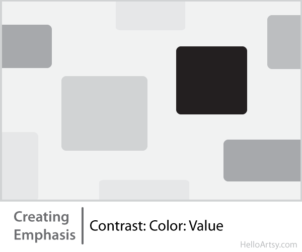 8 Ways for Creating Emphasis in Your Artwork | contrast: color: value