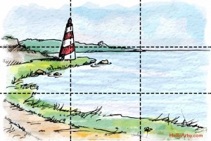 Lighthouse Painting: Example of Rule of Thirds (with grid)