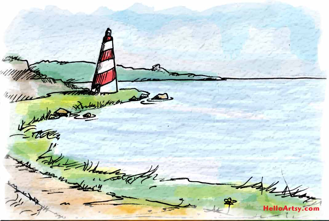 Lighthouse Painting: Example of Rule of Thirds