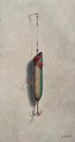 """Ted's Red & Aqua Plug"" • Oil • John Morfis"