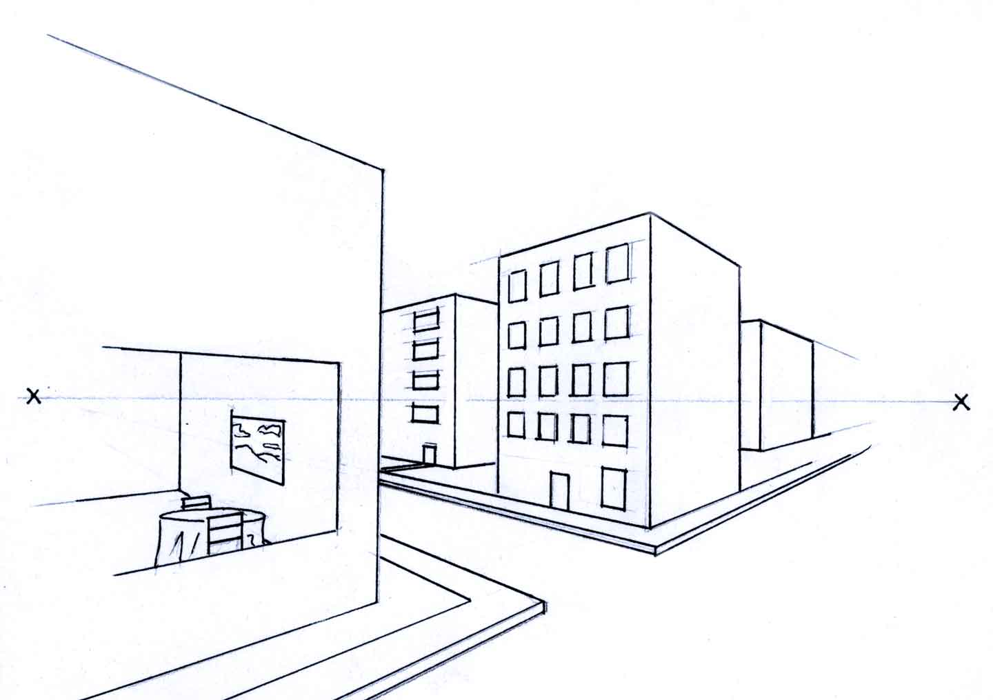 Online Perspective Drawing Lesson: How To Draw Buildings Using Two Point Perspective