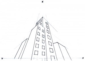 Online Perspective Drawing Lesson: How To Draw a Buildings Using Three Point Perspective