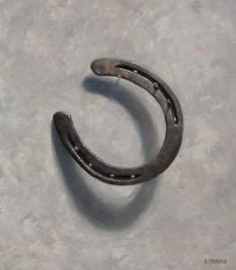 """Horseshoe painting by John Morfis • """"Aristocrat's Near Luck"""" oil on linen"""