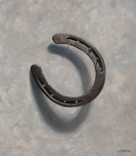 "Horseshoe painting by John Morfis • ""Aristocrat's Near Luck"" oil on linen"