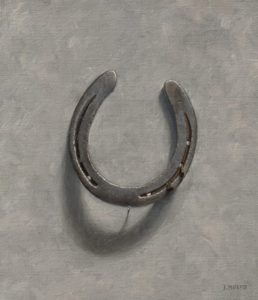 "Horseshoe painting by John Morfis • ""Aristocrat's Balancing Act"" oil on linen"