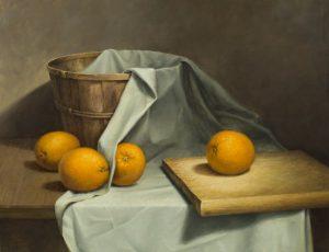 Four Jumbo Oranges - Oil Painting by John Morfis