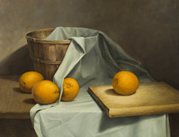 Four Jumbo Oranges - Oil Painting by John Morfis