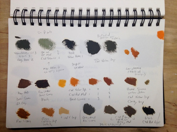 color samples from sketchbook