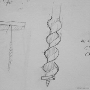 auger threads - thumbnail study in pencil