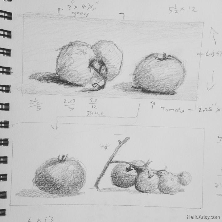 tomatoes still life thumbnail drawing