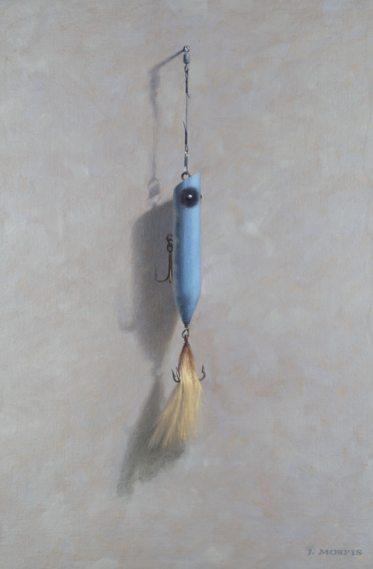 """Bucktail Blue"" salt water fishing plug - oil painting by John Morfis"