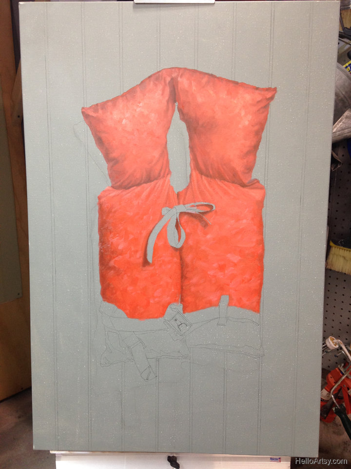 Life Jacket Painting in progress 2