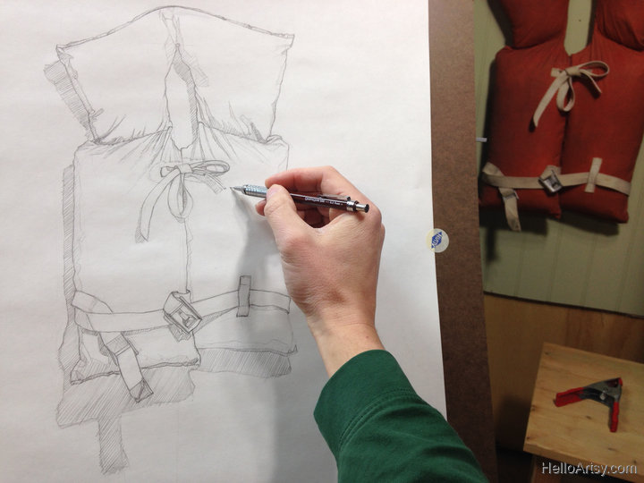 Line Drawing for Life Jacket Painting