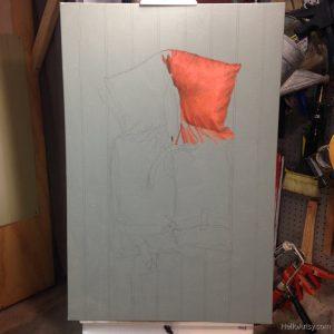 Life Jacket Painting in progress 1