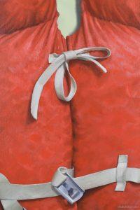 Closeup of Orange Life Jacket Painting - by John Morfis