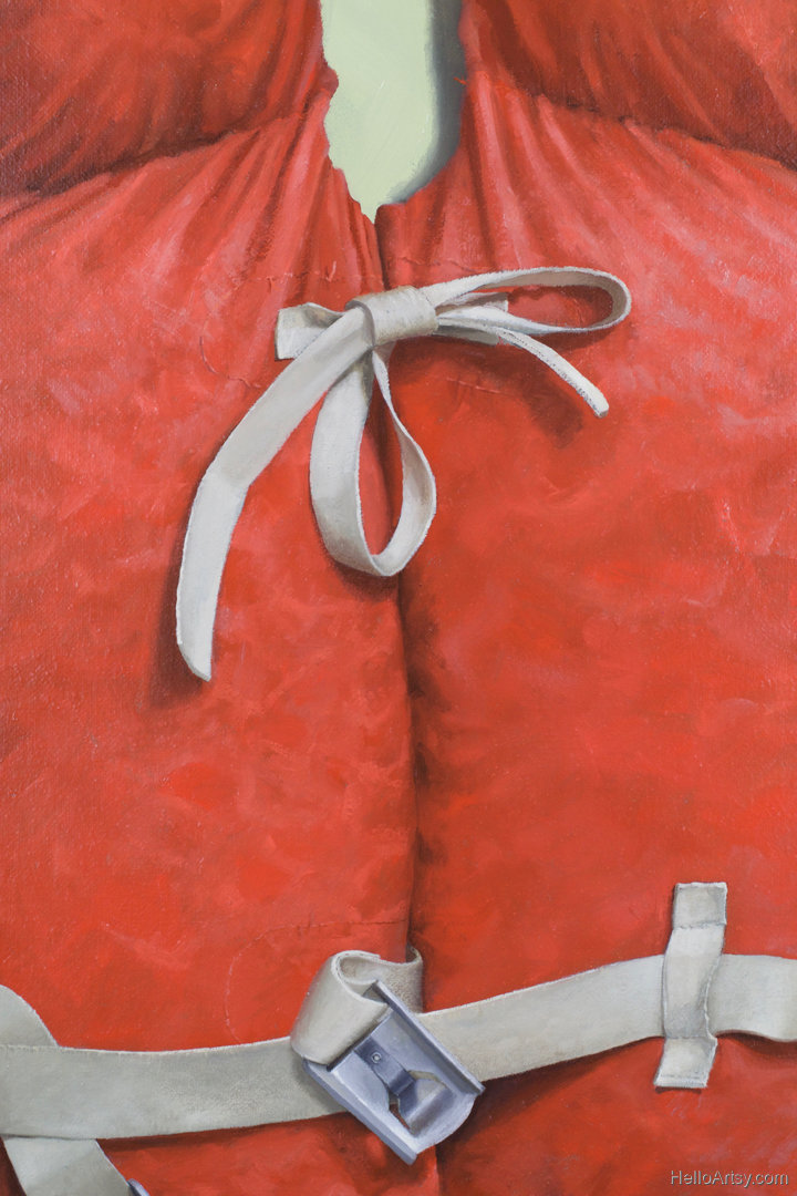 Closeup of Orange Life Jacket Painting - by John Morfis