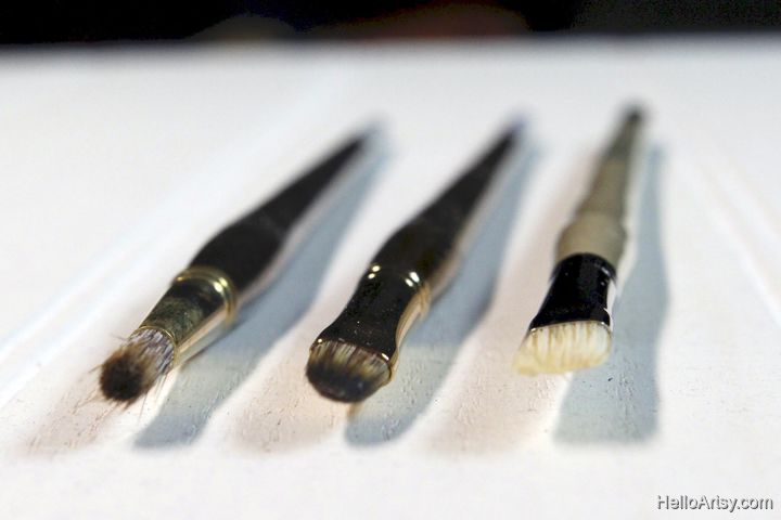oil painting brush types front view
