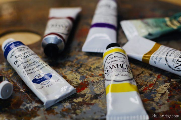 paint tubes on palette