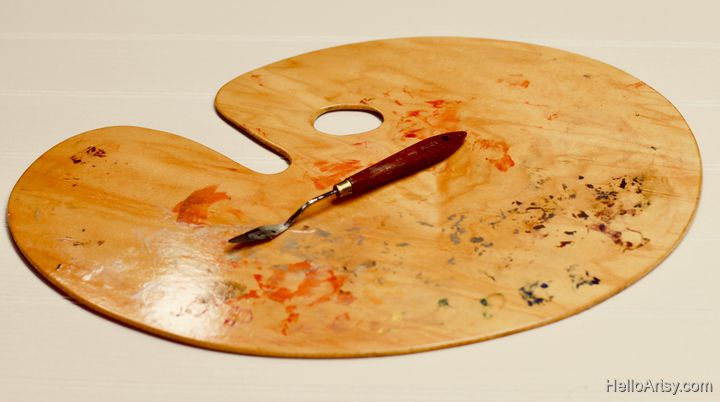 wooden palette and palette knife
