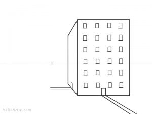 Drawing 1pt. Perspective Building: Step 6