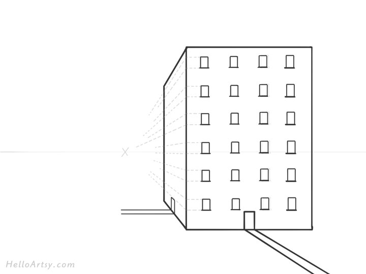 Drawing 1pt. Perspective Building: Step 7