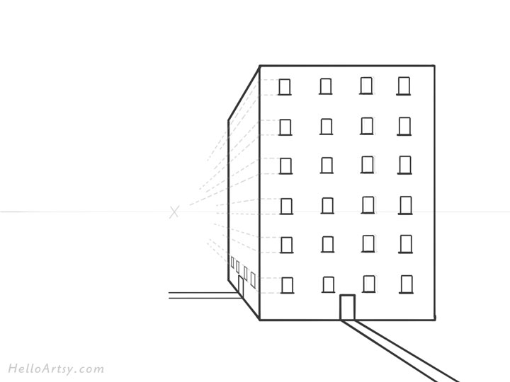 Drawing 1pt. Perspective Building: Step 8