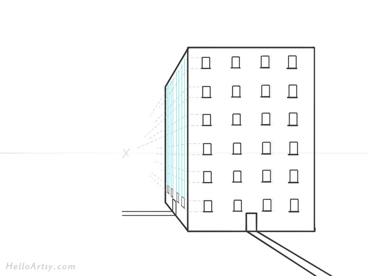 Drawing 1pt. Perspective Building: Step 9