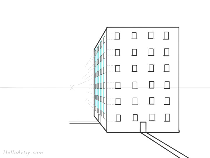 Drawing 1pt. Perspective Building: Step 10