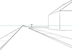 One Point Perspective Street Drawing: step 4