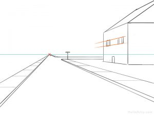 One Point Perspective Street Drawing: step 6