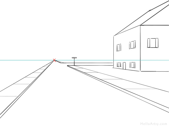 One Point Perspective Street Drawing: step 7
