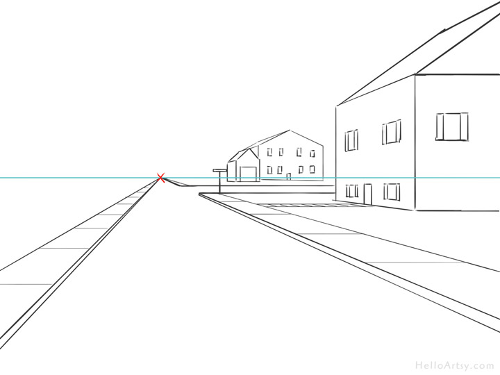 One Point Perspective Street Drawing: step 9
