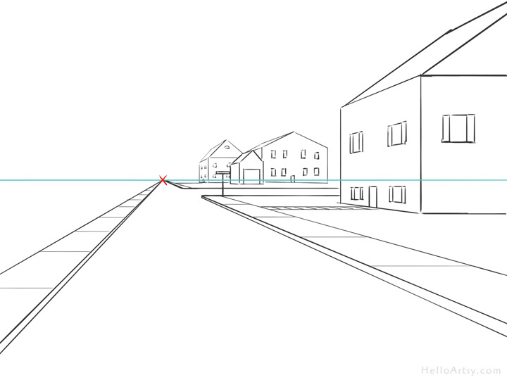 One Point Perspective Street Drawing: step 10