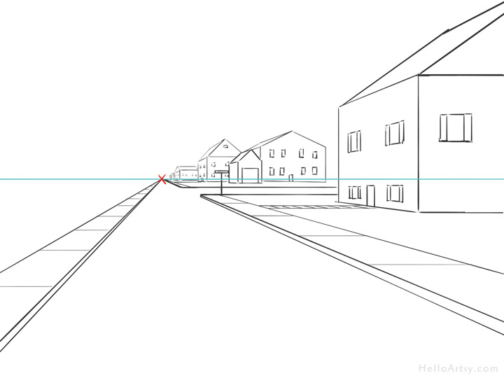 One Point Perspective Street Drawing: step 11