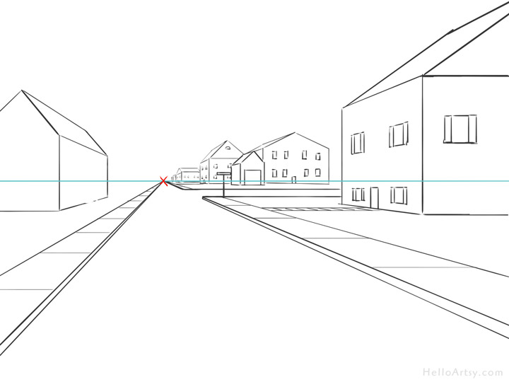 One Point Perspective Street Drawing: step 12