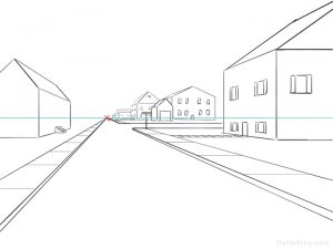 One Point Perspective Street Drawing: step 13