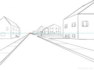 One Point Perspective Street Drawing: step 14