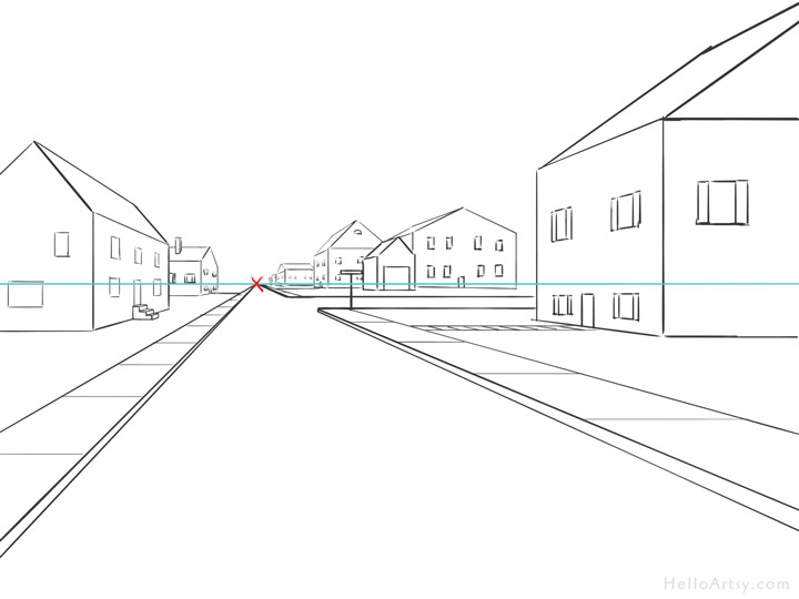 One Point Perspective Street Drawing: step 15