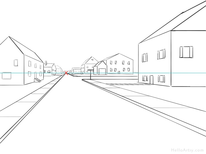 One Point Perspective Street Drawing: step 16
