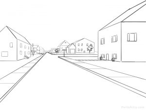 One Point Perspective Street Drawing: step 17