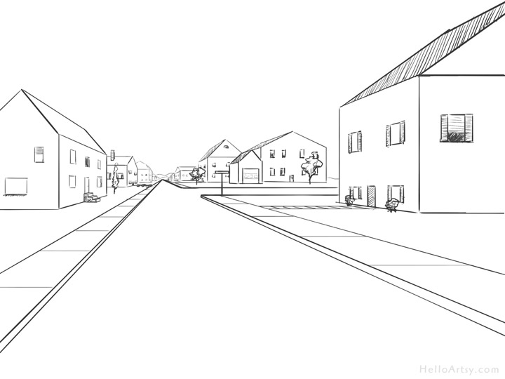One Point Perspective Street Drawing: step 18
