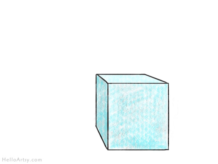 one point perspective box: complete drawing
