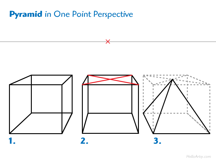 Step by Step Pyramid Construction (one point perspective)