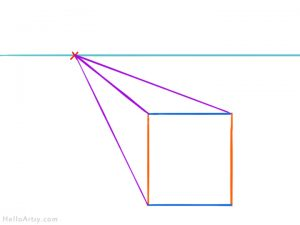one point perspective box: step 4 - connect corners to vanishing point
