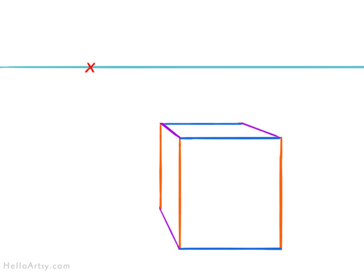 one point perspective box: step 6 - clean up extra lines