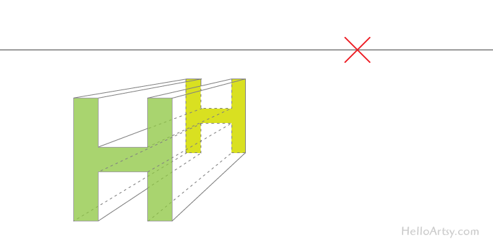 "drawing one-point perspective letter ""H"": step 3"